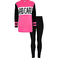 Girls pink who cares jumper with leggings set