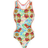 Girls blue star and floral cut out swimsuit