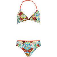 Girls blue triangle star print bikini