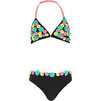Girls black 3D flower bikini