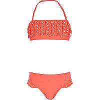 Girls coral bow bandeau bikini