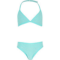 Girls blue triangle embellished bikini
