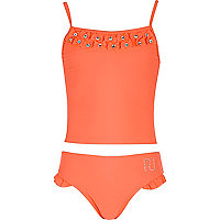 Girls coral bow tankini