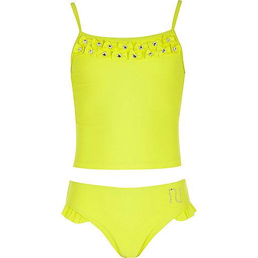 Girls yellow bow tankini
