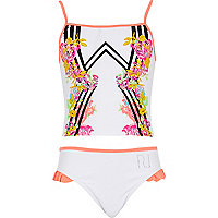 Girls white floral mirror tankini