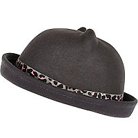 Girls grey bowler with leopard print trim