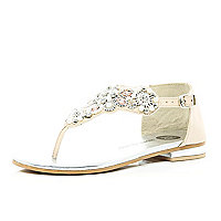 Girls cream pearl and diamante sandals