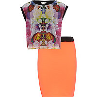 Girls black floral top and orange skirt set