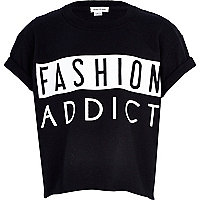 Girls black gloss fashion addict t-shirt
