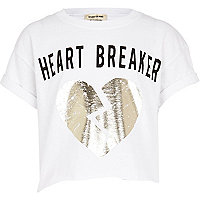 Girls white heart breaker t-shirt