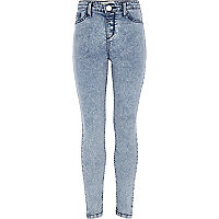 Girls light blue acid wash denim jeggings