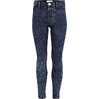 Girls dark acid wash denim jeggings