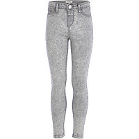 Girls light grey acid wash denim jeggings