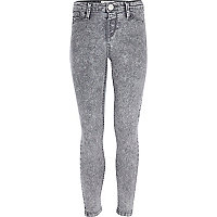 Girls grey acid wash denim jeggings
