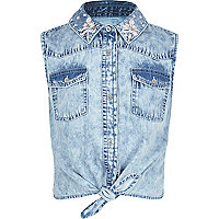Girls blue bleach wash embellished shirt