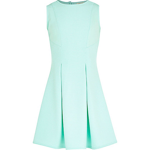Girls light green ribbed fit and flare dress