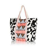 Girls black animal large beach bag