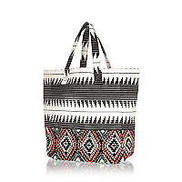 Girls cream aztec embellished beach bag