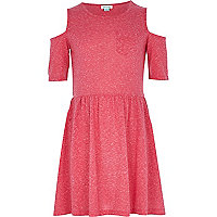Girls pink flecked plain dress