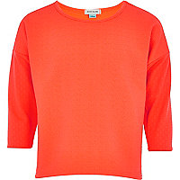Girls coral mix textured top