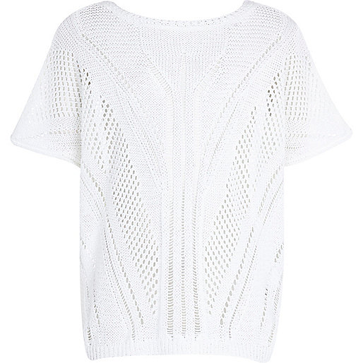 Girls white holey knit jumper