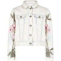 Girls light blue denim tropical sleeve jacket