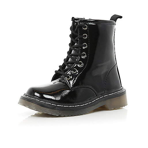 Girls black patent military boots