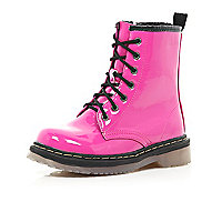 Girls pink patent military boots