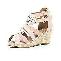 Girls pink lazor cut strappy wedges