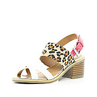 Girls leopard print mix block heel sandal