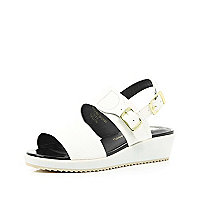 Girls white slider wedge sandal
