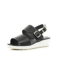Girls black slider wedge sandal