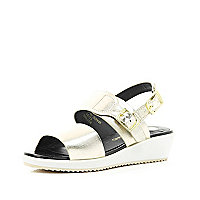 Girls metallic silver slider wedge sandal