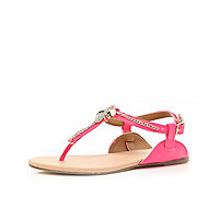 Girls pink T bar embellished sandal