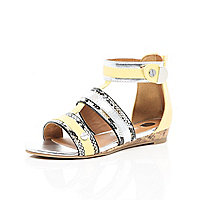 Girls yellow leopard print gladiator sandal