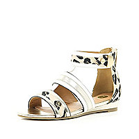Girls white leopard print gladiator sandal