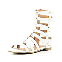 Girls white high gladiator sandals