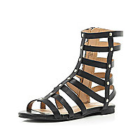 Girls black high gladiator sandals