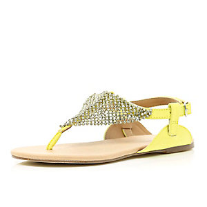 Girls yellow diamante sandals