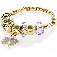 Girls purple moveable bow chain bracelet