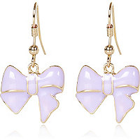 Girls purple bow earings