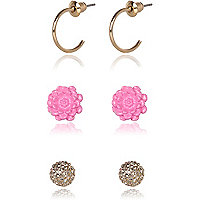 Girls pink stud and hoop three pack earrings