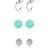Girls green stud and hoop three pack earrings