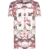 Girls pink floral reflective 95 print t-shirt