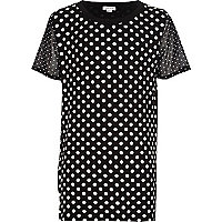Girls navy polka dot mesh sleeve jumbo top