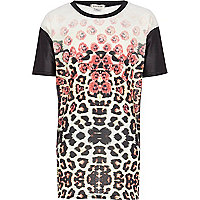 Girls black reflective animal print t-shirt