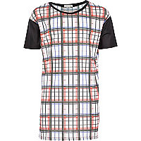 Girls red tartan print colour block jumbo top