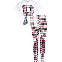 Girls white t-shirt and tartan leggings set