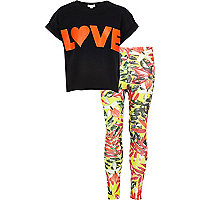 Girls black love print with leggings set