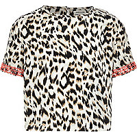 Girls cream animal print boxy crop top